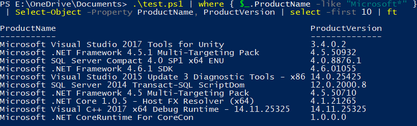 Enumerating installed MSI products with PowerShell and msi