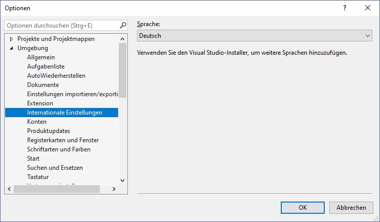Change UI language in Visual Studio – Marcin Otorowski