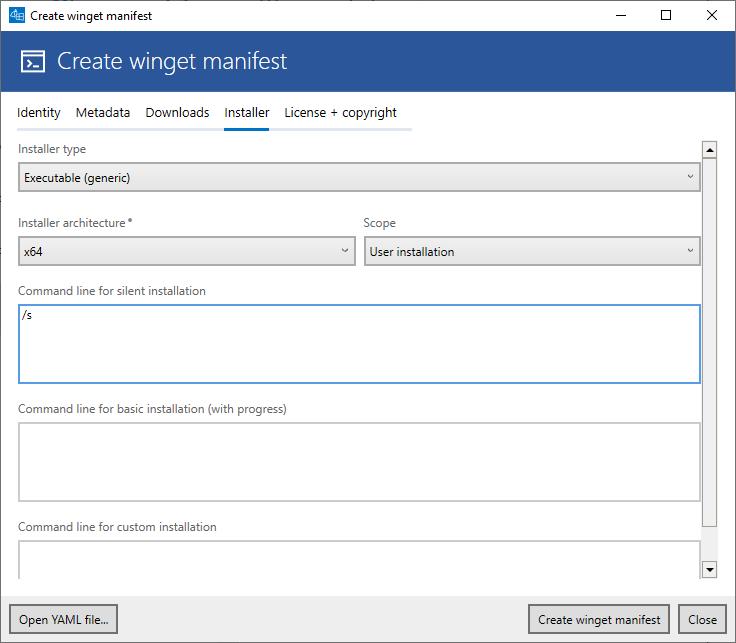 YAML editor (tab Installer - EXE)