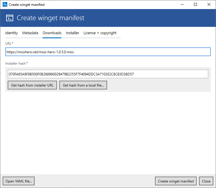 YAML editor (tab Downloads)